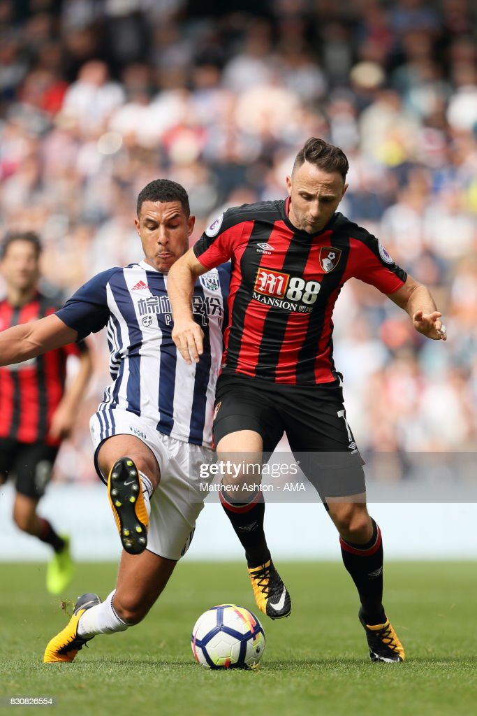 Jake Livermore of West Bromwich Albion and Marc Pugh of AFC Bournemouth during the Premier League match between West Bromwich Albion and AFC Bournemouth at The Hawthorns on August 12, 2017 in West Bromwich, England.
