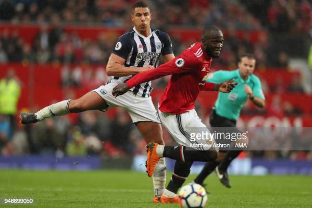 Jake Livermore of West Bromwich Albion and Romelu Lukaku of Manchester United during the Premier League match between Manchester United and West...