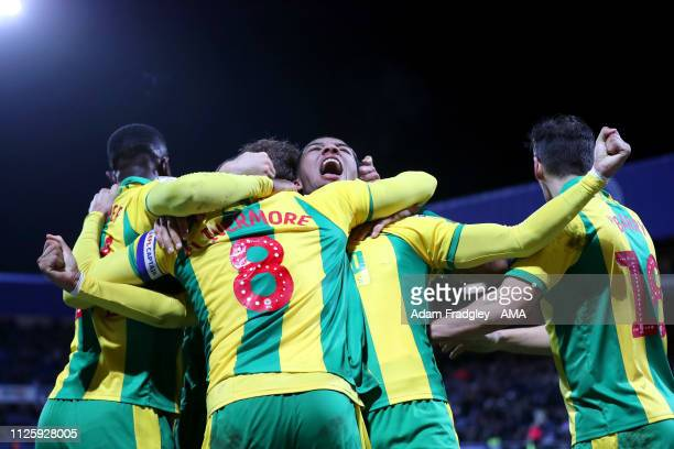 Jake Livermore of West Bromwich Albion celebrates after scoring a goal to make it 23 with Mason Holgate of West Bromwich Albion and team mates during...