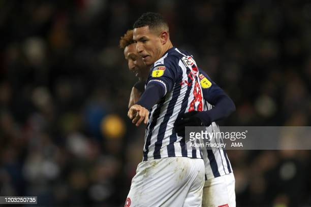 Jake Livermore of West Bromwich Albion celebrates after scoring a goal to make it 20 with Callum Robinson of West Bromwich Albion during the Sky Bet...