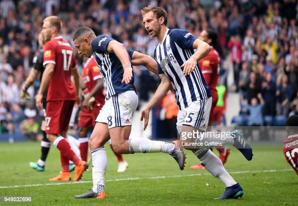Jake Livermore of West Bromwich Albion celebrates after scoring his sides first goal during the Premier League match between West Bromwich Albion and...