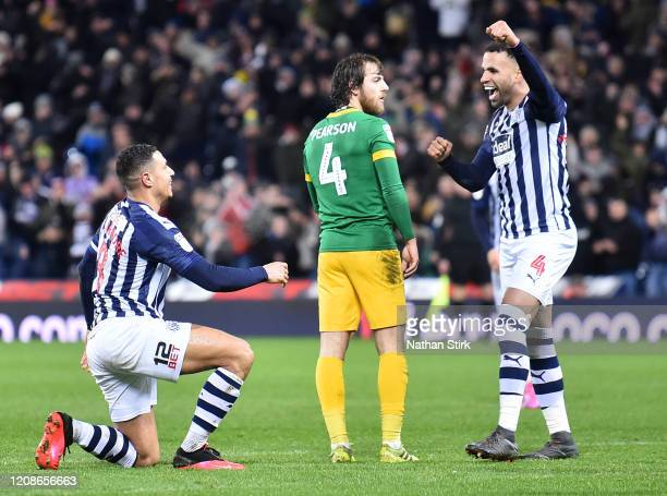Jake Livermore of West Bromwich Albion celebrates with teammate Hal Robson-Kanu of West Bromwich Albion after scoring his teams second goal during...