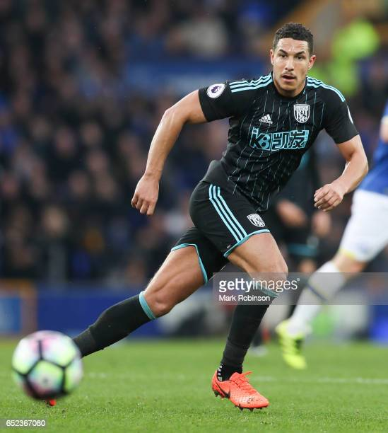 Jake Livermore of West Bromwich Albion during the Premier League match between Everton and West Bromwich Albion at Goodison Park on March 11 2017 in...