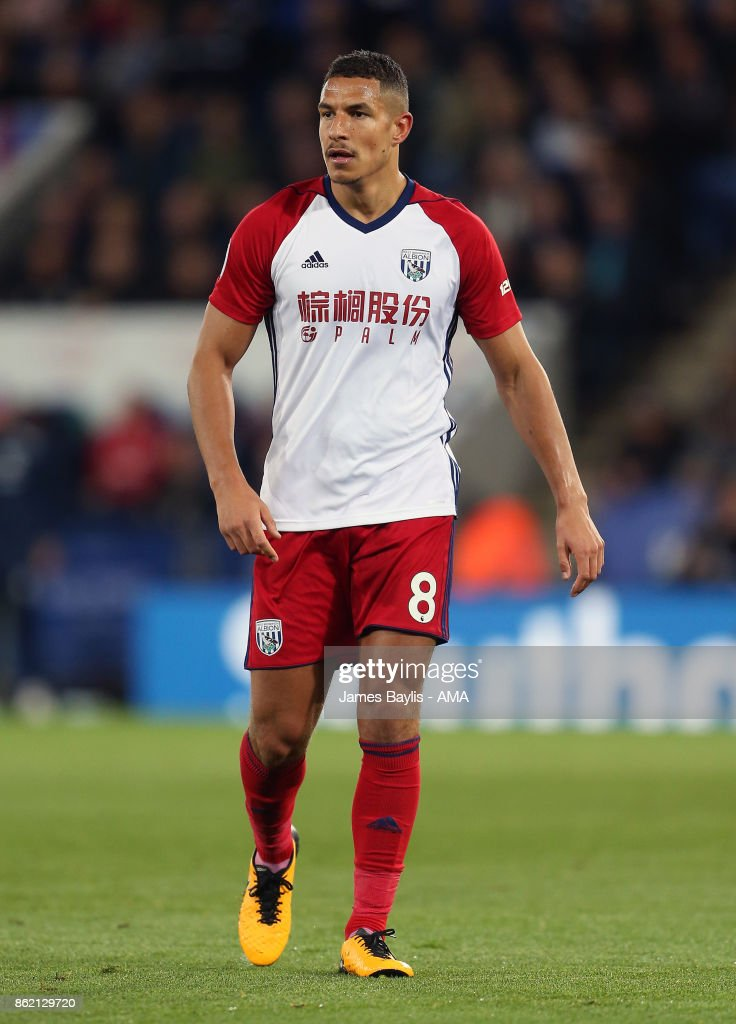 Jake Livermore of West Bromwich Albion during the Premier League match between Leicester City and West Bromwich Albion at The King Power Stadium on October 16, 2017 in Leicester, England.