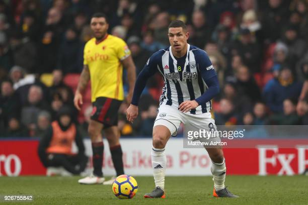 Jake Livermore of West Bromwich Albion during the Premier League match between Watford and West Bromwich Albion at Vicarage Road on March 3 2018 in...