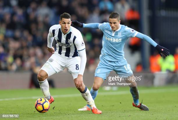 Jake Livermore of West Bromwich Albion in action during the Premier League match between West Bromwich Albion and Stoke City at The Hawthorns on...