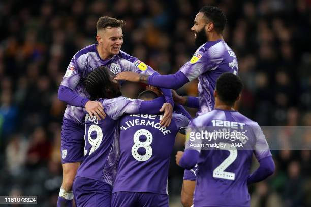 Jake Livermore of West Bromwich Albion is mobbed by team mates as he celebrates after scoring a goal to make it 01 during the Sky Bet Championship...