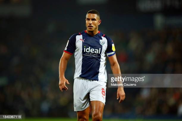 Jake Livermore of West Bromwich Albion looks on during the Sky Bet Championship match between West Bromwich Albion and Derby County at The Hawthorns...