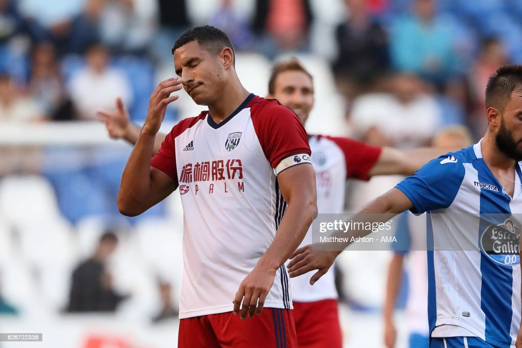 Jake Livermore of West Bromwich Albion reacts after getting sent off during the Pre-Season Friendly between Deportivo de La Coruna and West Bromwich Albion on August 5, 2017 in La Coruna, Spain.