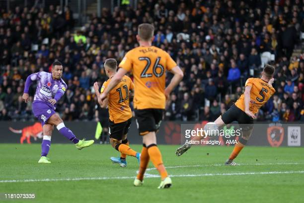 Jake Livermore of West Bromwich Albion scores a goal to make it 0-1 during the Sky Bet Championship match between Hull City and West Bromwich Albion...