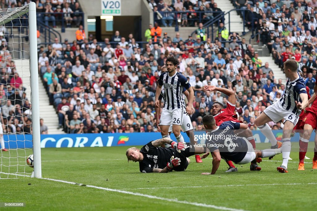 Jake Livermore of West Bromwich Albion scores a goal to make it 1-2 during the Premier League match between West Bromwich Albion and Liverpool at The Hawthorns on April 22, 2018 in West Bromwich, England.