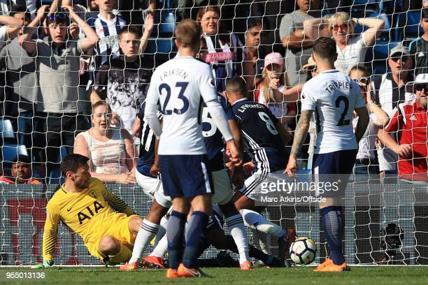 Jake Livermore of West Bromwich Albion scores a late goal during the Premier League match between West Bromwich Albion and Tottenham Hotspur at The...