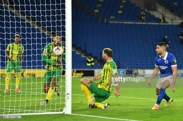 Jake Livermore of West Bromwich Albion scores an own goal to give Brighton and Hove Albion their first goal during the Premier League match between...