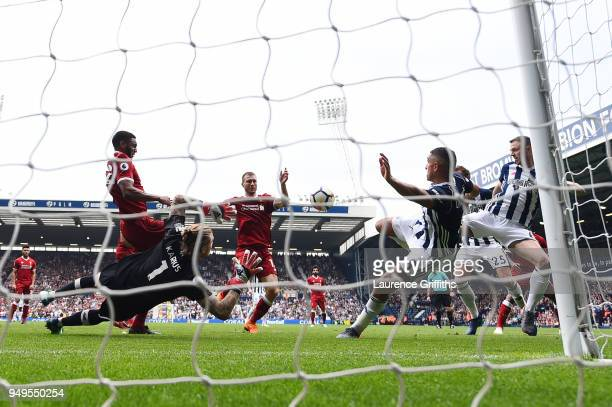 Jake Livermore of West Bromwich Albion scores his sides first goal during the Premier League match between West Bromwich Albion and Liverpool at The...