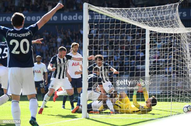 Jake Livermore of West Bromwich Albion scores his sides first goal during the Premier League match between West Bromwich Albion and Tottenham Hotspur...