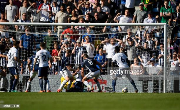 Jake Livermore of West Bromwich Albion scores his team's first goal of the game during the Premier League match between West Bromwich Albion and...