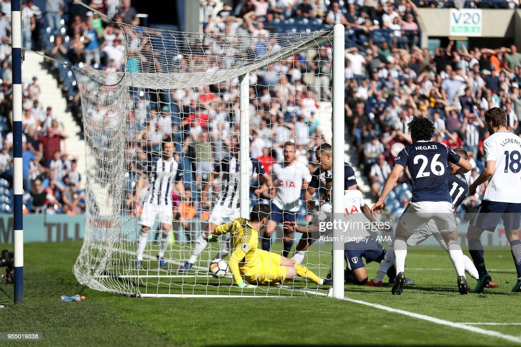 Jake Livermore of West Bromwich Albion scores the winning goal to make it 1-0 during the Premier League match between West Bromwich Albion and Tottenham Hotspur at The Hawthorns on May 5, 2018 in West Bromwich, England.