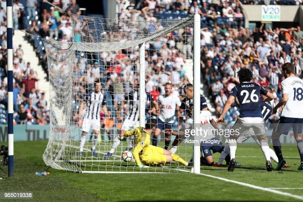 Jake Livermore of West Bromwich Albion scores the winning goal to make it 10 during the Premier League match between West Bromwich Albion and...