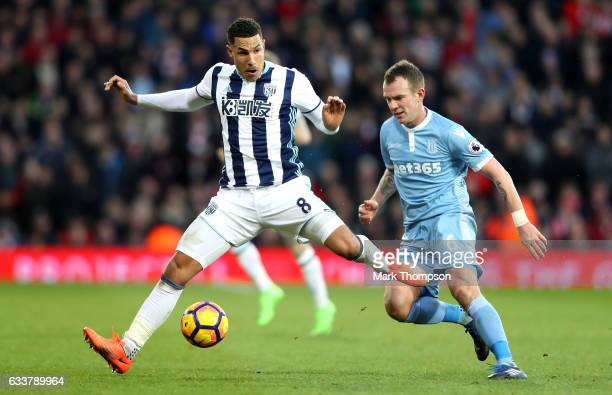 Jake Livermore of West Bromwich Albion shoots during the Premier League match between West Bromwich Albion and Stoke City at The Hawthorns on...