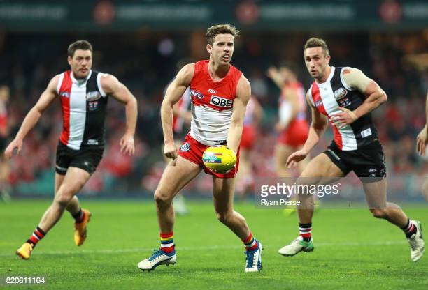 Jake Lloyd of the Swans looks upfield during the round 18 AFL match between the Sydney Swans and the St Kilda Saints at Sydney Cricket Ground on July...