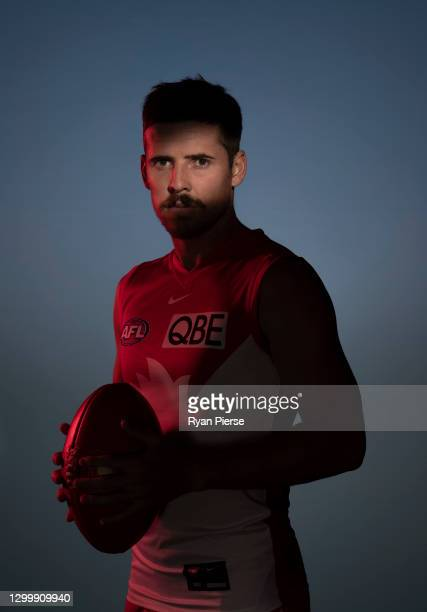 Jake Lloyd of the Swans poses during a portrait session at the Sydney Swans 2021 AFL media day at Sydney Cricket Ground on February 02, 2021 in...
