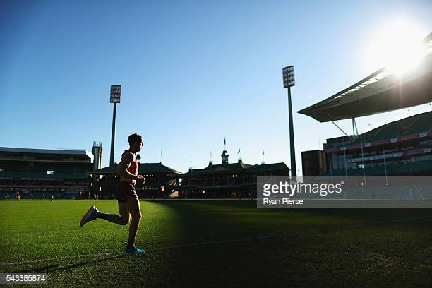 Jake Lloyd of the Swans trains during a Sydney Swans AFL training session at Sydney Cricket Ground on June 28 2016 in Sydney Australia