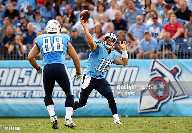 Jake Locker of the Tennessee Titans passes against the New Orleans Saints at LP Field on August 30 2012 in Nashville Tennessee
