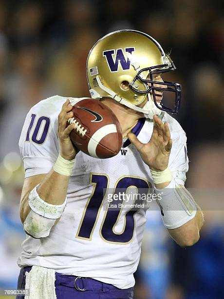 Jake Locker of the Washington Huskies looks to pass during the game against the UCLA Bruins at the Pasadena Rose Bowl on September 22 2007 in...