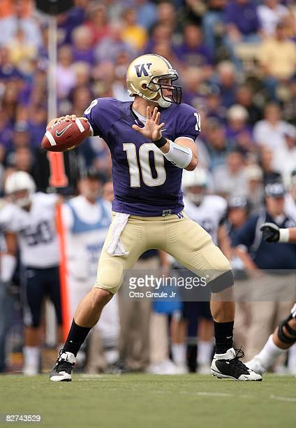 Jake Locker of the Washington Huskies passes the ball during their game against the BYU Cougars on September 6, 2008 at Husky Stadium in Seattle,...