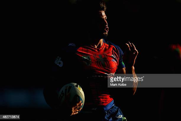 Jake Mamo of the Knights runs the ball during the round 21 NRL match between the St George Illawarra Dragons and the Newcastle Knights at WIN Jubilee...