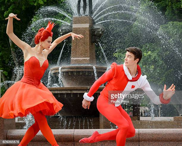 PARK SYDNEY NSW AUSTRALIA Jake Mangakahia as Jack/Knave and Valerie Tereshchenko as Queen of Hearts preview the Australian Ballet's production of...