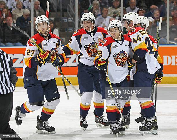 Jake Marchment of the Erie Otters celebrates a goal against the London Knights during game four of the OHL Western Conference Final on April 27 2016...