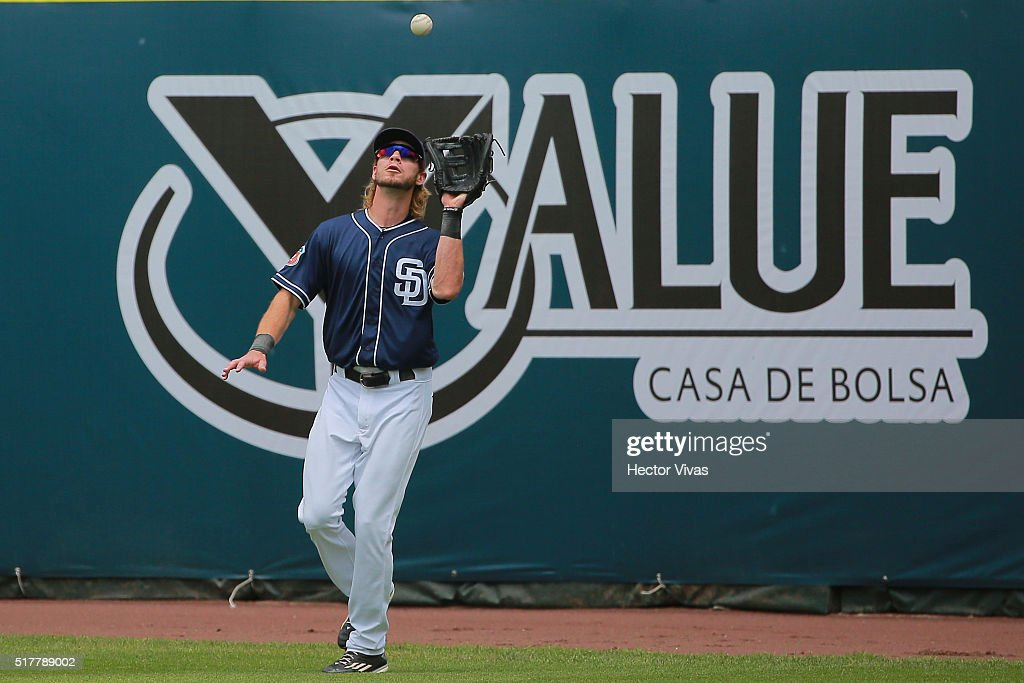 Jake Marisnick #6 of San Diego Padres catches the ball during the preseason match between Houston Astros and San Diego Padres at Fray Nano Stadium on March 27, 2016 in Mexico City, Mexico.