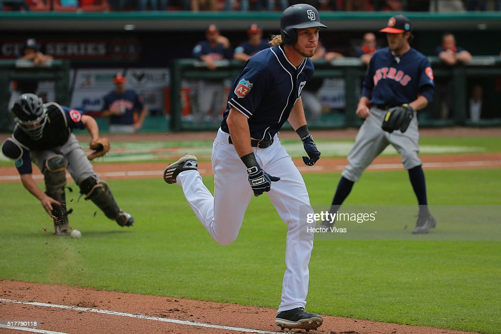 Jake Marisnick #6 of San Diego Padres runs to first base during the preseason match between Houston Astros and San Diego Padres at Fray Nano Stadium on March 27, 2016 in Mexico City, Mexico.
