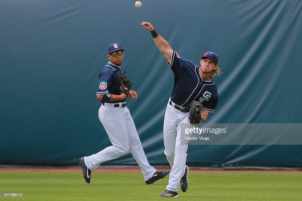 Jake Marisnick #6 of San Diego Padres throws the ball during the preseason match between Houston Astros and San Diego Padres at Fray Nano Stadium on March 27, 2016 in Mexico City, Mexico.