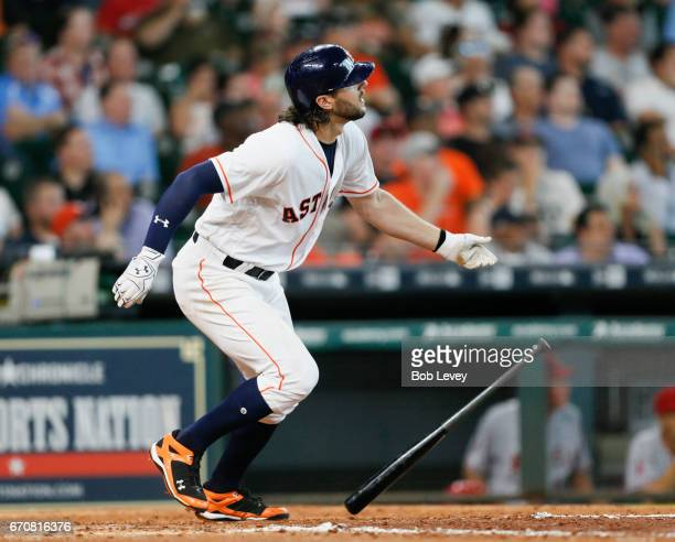 Jake Marisnick of the Houston Astros hits a home run in the fifth inning against the Los Angeles Angels of Anaheim at Minute Maid Park on April 20...