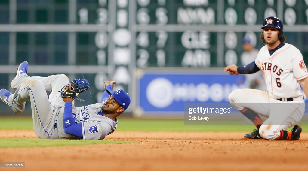 Jake Marisnick #6 of the Houston Astros is out at second base on slide interference on Christian Colon #24 of the Kansas City Royals in the seventh inning at Minute Maid Park on April 8, 2017 in Houston, Texas.