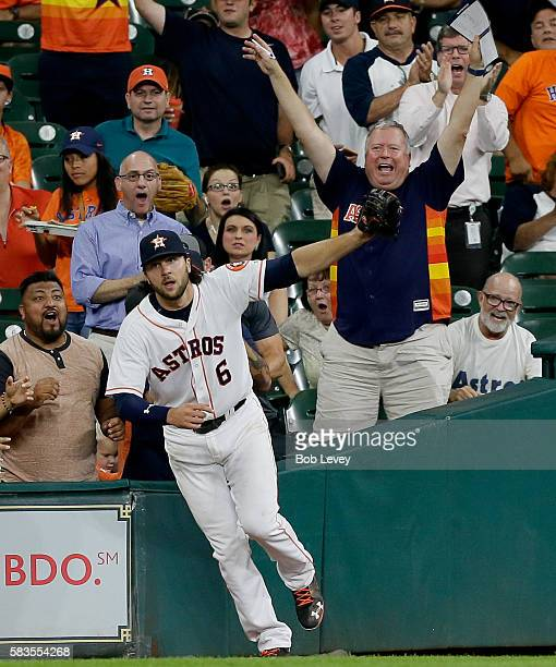 Jake Marisnick of the Houston Astros makes a catch in foul territory on a fly ball by Carlos Beltran of the New York Yankees in the fourth inning at...