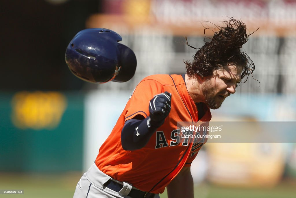 Jake Marisnick #6 of the Houston Astros reacts after striking out in the fifth inning and is ejected from the game against the Oakland Athletics at Oakland Alameda Coliseum on September 10, 2017 in Oakland, California.