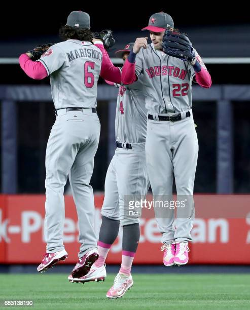 Jake MarisnickGeorge Springer and Josh Reddick of the Houston Astros celebrate the 107 win over the New York Yankees in Game 2 on May 14 2017 at...