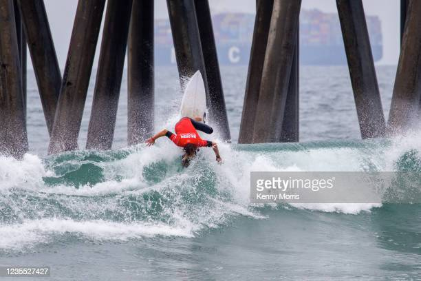 Jake Marshall of the USA surfing in the Semifinal of the US Open of Surfing Huntington Beach presented by Shiseido on September 26, 2021 at...