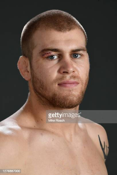 Jake Matthews of Australia poses for a post fight portrait backstage during UFC 253 inside Flash Forum on UFC Fight Island on September 27 2020 in...