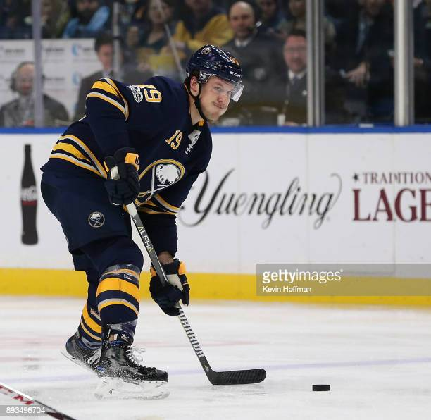 Jake McCabe of the Buffalo Sabres during the game against the Ottawa Senators at the KeyBank Center on December 12 2017 in Buffalo New York