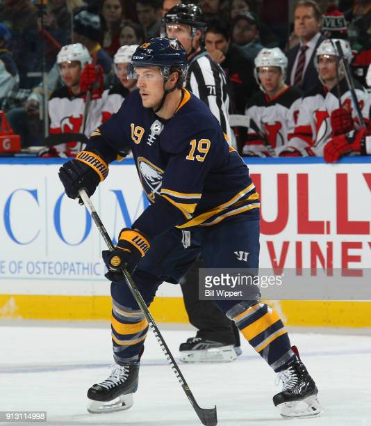Jake McCabe of the Buffalo Sabres skates during an NHL game against the New Jersey Devils on January 30 2018 at KeyBank Center in Buffalo New York...