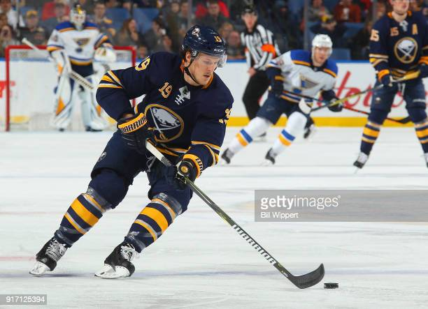 Jake McCabe of the Buffalo Sabres skates during an NHL game against the St Louis Blues on February 3 2018 at KeyBank Center in Buffalo New York