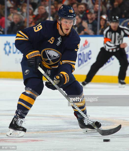 Jake McCabe of the Buffalo Sabres skates during an NHL game against the Anaheim Ducks on February 6 2018 at KeyBank Center in Buffalo New York