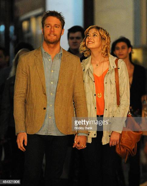 Jake McDorman and Analeigh Tipton on the set of 'Manhattan Love Story' on August 28 2014 in New York City
