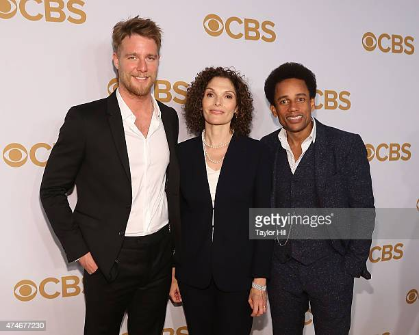 Jake McDorman Mary Elizabeth Mastrantonio and Hill Harper attend the 2015 CBS Upfront at The Tent at Lincoln Center on May 13 2015 in New York City