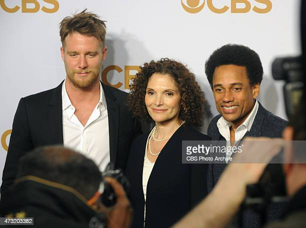 Jake McDorman Mary Elizabeth Mastrantonio and Hill Harper walk the gold carpet at Lincoln Center after CBS presented its 201516 prime time schedule...