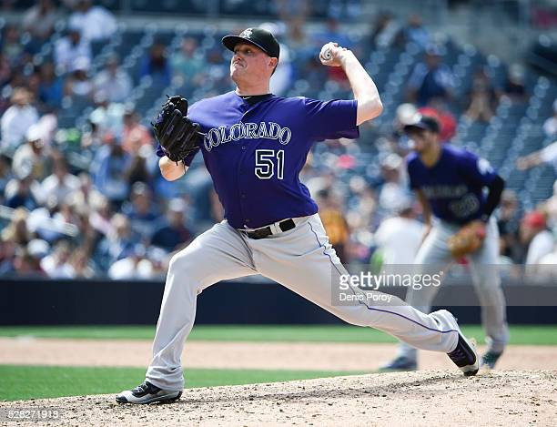 Jake McGee of the Colorado Rockies pitches during the ninth inning of a baseball game against the San Diego Padres at PETCO Park on May 4 2016 in San...